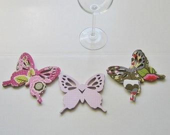 Wine Glass Butterfly Place Card Green Pink Pattern (72)