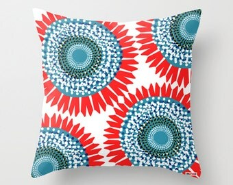 20x20 pillow cover - Decorative throw - Floral pillow cover - Designer pillow - Big flowers pillow cover - Modern pillow cover