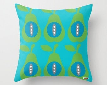 Pears throw pillow cover - Blue and green pillow cover - Modern pillow cover - Scandinavian pillow case - Decorative pillow cover