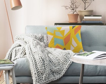 Decorative throw pillow cover - yellow pillow- geometric pattern pillow - Pillows for couch - Modern pillow cover - Original design