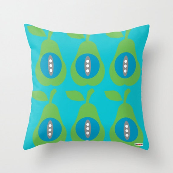 Green Throw Pillows Etsy : Pears throw pillow cover Blue and green pillow cover