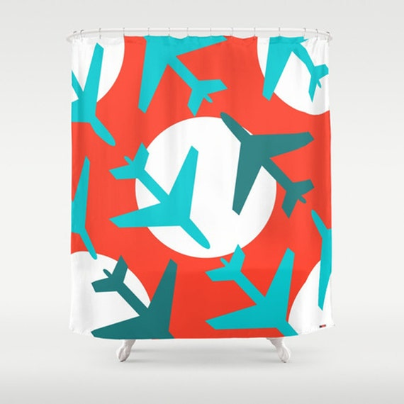 Items Similar To Modern Shower Curtain Red And Blue