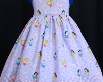 Disney PRINCESS Lavendar/Gingham Sun Jumper Dress DAISY KINGDOM Custom Size