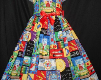 Back To SCHOOL Allover Sampler Dress CUSTOM Size