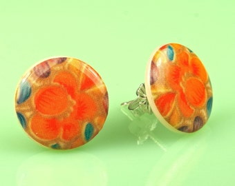 Vintage Poppy Lucite Post Earrings
