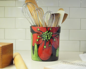 Kitchen Utensil Holder Utensil Crock Ceramic Utensil Holder XL Utensil Holder Red Poppy Pottery Floral Gift for Hostess Gift for Bride RP