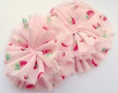Pink Strawberries Ruffle Blossoms - Fabric Flower Embellishments