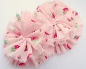Pink Strawberries Ruffle Blossoms - Fabric Flower Embellishments