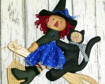 CF186 Raggedy Kitchen Witch - Kitchen Witch Cloth Raggedy Doll and Black Cat Sewing PDF ePattern