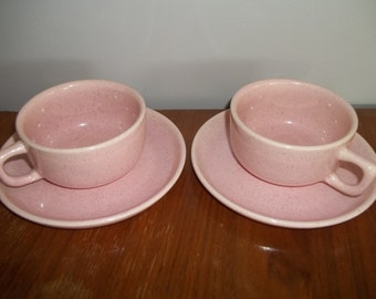 Brusche Cup and Saucer Set of 2 Bauer Pottery