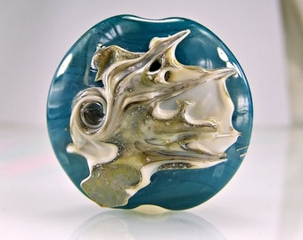 Teal Blue Silvered Ivory Lampwork Focal Bead