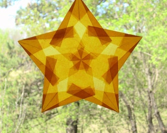 Gold Window Star Made with Translucent Paper