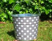 Decoupaged Galvanized Beach Bucket Gray and White Quarter Size Polka Dots