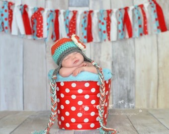 Newborn Baby Photo Prop Galvanized Bucket Red and White Quarter Dot