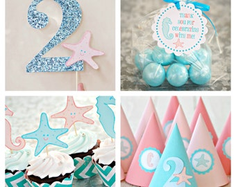 Under the Sea Collection - Custom Party Hats SET of SIX from Mary Had a Little Party