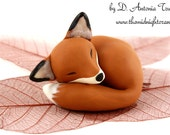 Sleeping Fox Sculpture - Hand Sculpted Woodland Clay Polymer Figurine - baby fox miniature collectible - made to order