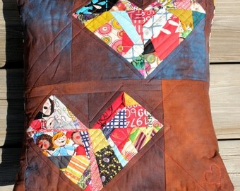 Quilted Eclectic Patchwork Squashed Hearts Pillow - Women's Heart Health Awareness - 16""
