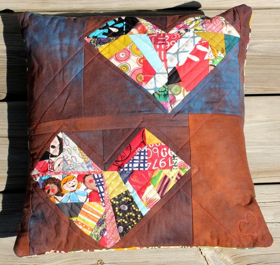 """Quilted Eclectic Patchwork Squashed Hearts Pillow - Women's Heart Health Awareness - 16"""""""