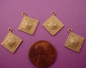 6 brass heraldic art nouveau dapped  diamond shape charms 16mm