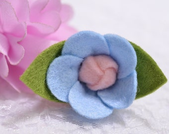 Set of 6pcs handmade felt flower--aspen blue (FT435)