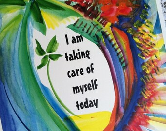 I Am TAKING CARE Of Myself Inspirational Quote Motivational Print Positive Thinking Fitness Meditation Heartful Art by Raphaella Vaisseau