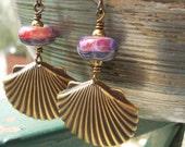 Long dangle earrings Atlantic Jewel handmade lampwork beads oxidize brass seashell oceanic shell organic mermaid women amber red orange blue