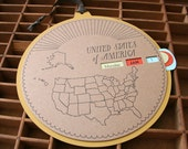letterpress USA perpetual calendar map