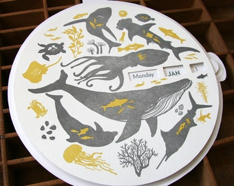 letterpress sea creatures perpetual calendar
