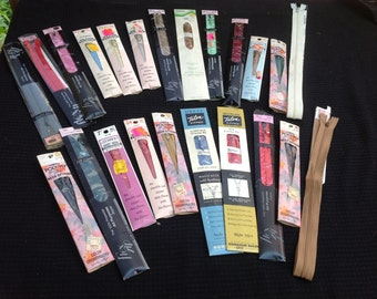 Lot of 23 Colorful Vintage Nylon Zippers 1970s Era Still in Packages