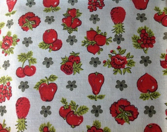 Vintage 1960's Era Curtain Panel with Red Fruit for Repurposing