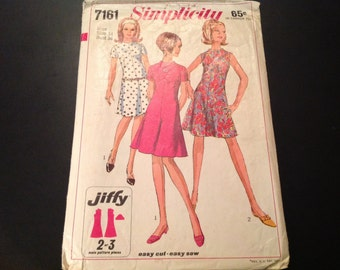 Vintage Simplicity #7161 Pattern for Misses Size 14 Jiffy Dress