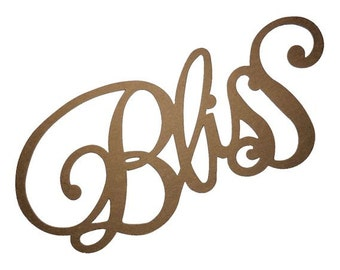 large big script cursive letter l 11 quot x 8 5 quot custom words say quot bliss quot die cuts in kraft chipboard or cardstock 537