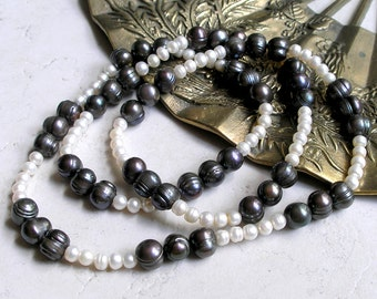 Round Freshwater Pearls- Extra Long Strand White and Purple Pearl Beads For Beaded Jewelry Making