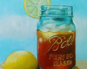 Tea With Lemon Mason Ball Jar Fine Art Giclee Print