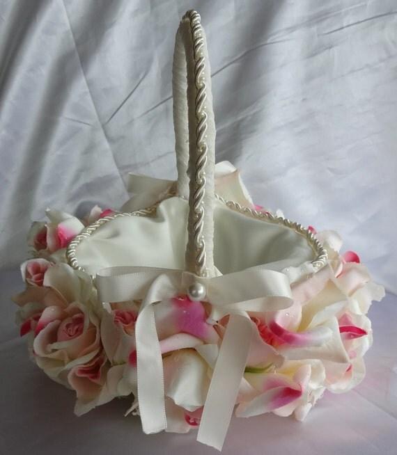 Flower Girl Basket Bridal Basket Wedding Basket of Roses