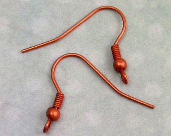 French Earwire with Ball, Shepherd Hook, Antique Copper, Nickel Free, 12Pc. AC152