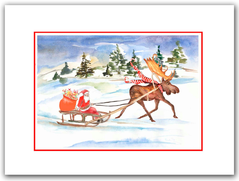 Moose pulling Santa on sled Christmas cards. funny holiday