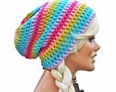 Pastel Rainbow Beanie Striped Slouchy Beanie Mens Womens