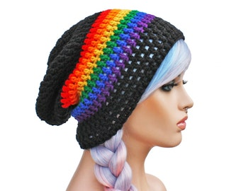 Black and Rainbow Slouch Beanie Pride