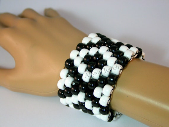 Black White X Kandi Cuff Kandy Bracelet Raver Plur Diamond