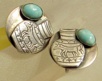 Vintage Navajo Larimar Turquoise Earrings - Sterling - 1940 - Unique - Engraved Deer Or Elk Fetish With Antlers - Screw Backs