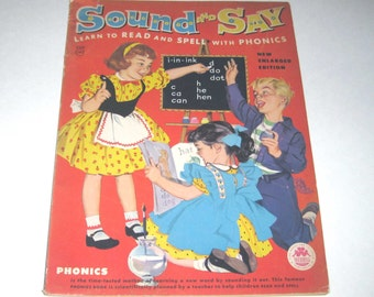 Sound and Say Vintage 1950s Unused Over Sized Phonics Coloring Book or Workbook for Children