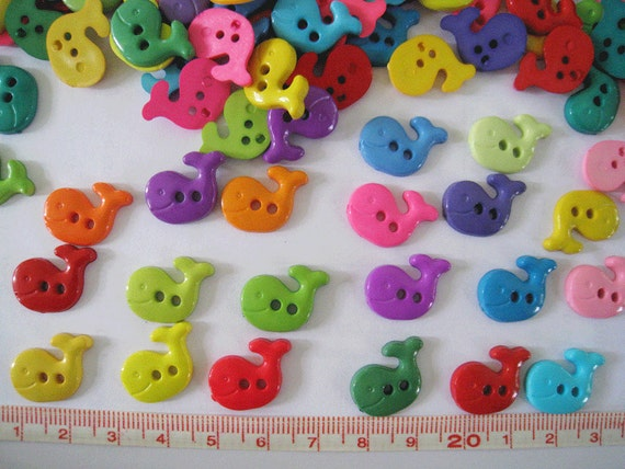 Reserved listing for nimblefingersyarn  28pcs of Bright Whale Button - Set A Green Yellow Pink Orange Blue Red