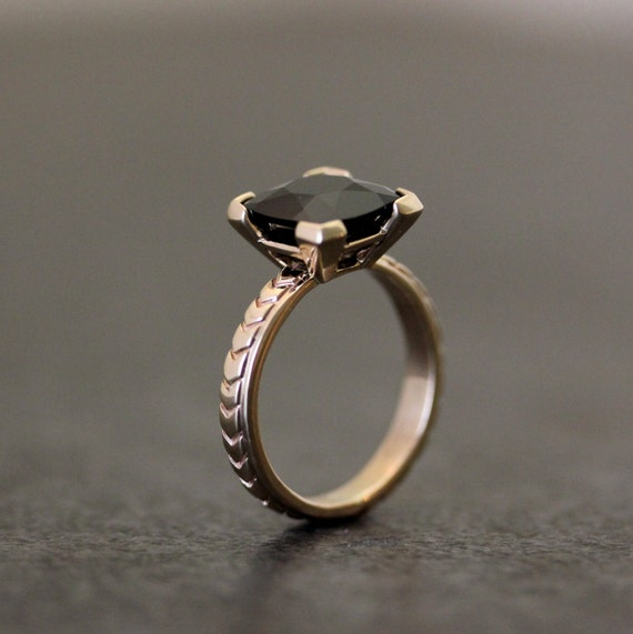 Black Spinel Yellow Gold Engagement Ring Art Deco Inspired