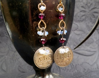 Victorian love token, garnet earrings in 14k gold fill - mixed metals - antique coin - Victorian charm - opal earrings - monogrammed initial