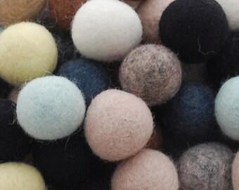 2.5cm - 100% Wool Felt Balls - 100 Count - Assorted Neutral Colors