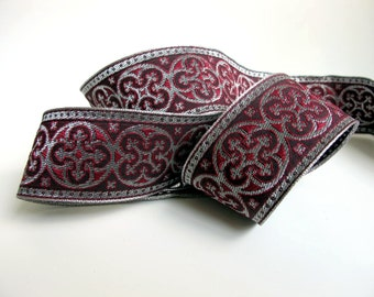 2 yards  BYZANTINE Jacquard trim in metallic antique silver on wine red. 1 5/8 inch wide. 958-G