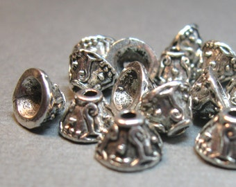 Silver Plated Antiqued 9mm x 7mm Pewter Bead Caps - Lead Free - 16 pieces