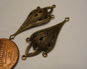 """Vintage Art Deco Style Drops, Antiqued Brass Connectors, Pendants, Chandelier Earring Jewerly Findings, 35x13mm (approx. 1.4""""), 2 pcs. (C1)"""