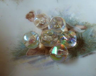 The Plastics!  6 Baroque Iridescent Beads